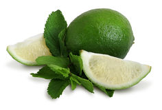 Lime and mint leaves Stock Photos