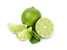 Lime with mint leaves Stock Photos