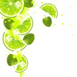Lime with Mint Leaves and Splashes of Juice vector illustration