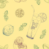 Lime and mint lemonade seamless pattern. Nature subtle style. Hand drawn illustration Royalty Free Stock Image
