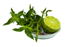 Lime with mint sprigs on a saucer Stock Photography