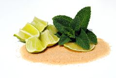 Lime, mint, and sugar for making mojto Royalty Free Stock Photos