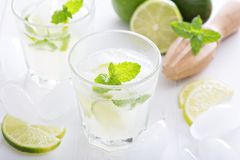Lime mojito lemonade ice cold freshly made Royalty Free Stock Photo