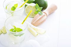 Lime mojito lemonade ice cold freshly made Royalty Free Stock Photos