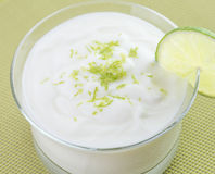 Lime Mousse in Glass Bowl. Royalty Free Stock Photos