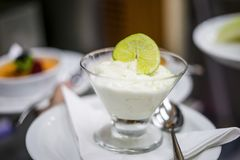 Lime mousse with slice of lime on the top royalty free stock photo