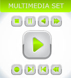 Lime multimedia set. With nine buttons Stock Photo