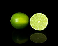 Lime On Black Stock Photo
