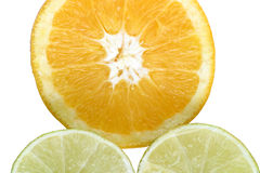 Lime & orange cross sections on white. Cross section slices close-up of lim & orange fruits in a rolling design. White background. A tangy sweet juicy food & Royalty Free Stock Photos