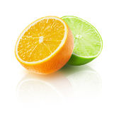 Lime with orange isolated on the white background Royalty Free Stock Images
