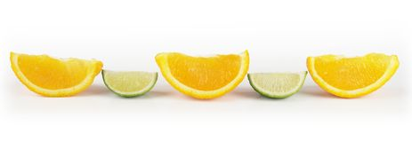 Lime and orange slices. In lane Stock Photos