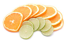 Lime and orange slices. On white background Stock Photo