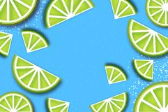 Lime in paper cut style. Origami juicy ripe lime citrus slices. Healthy food on sky blue. Summertime. Vector Stock Images