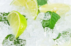 Lime and peppermint leaves Stock Photo