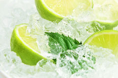 Lime and peppermint leaves Royalty Free Stock Photo
