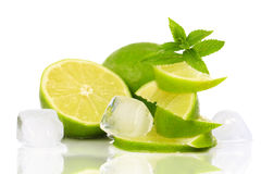 Lime with pieces of ice Royalty Free Stock Image