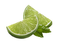 Lime quarter pieces leaf isolated on white background Stock Image
