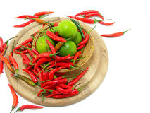 Lime and red chillies Royalty Free Stock Photography