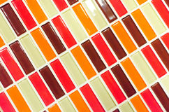 Lime red yellow and brown mosaic tiles background Stock Images