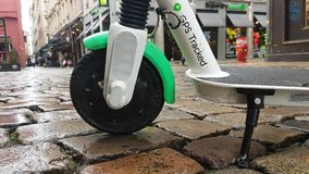 Lime-S Electric Rental Scooter In Lyon France. Lyon, France - January 4, 2019: Lime-S Electric Rental Scooter Parked In The Rue Merciere Street In Lyon, France stock video footage