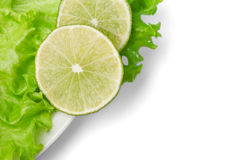 Lime and salad on dish. Slice Of Lime and salad on white dish Stock Photo