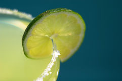 Lime on Salted Margarita Glass by Pool Stock Photography