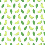 Lime seamless pattern with juicy limes and leaves. Cool refreshing summer mojito background. Floral Pattern. Flowers. Leaves, Lemons royalty free illustration