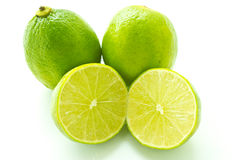 Lime with section on white background Royalty Free Stock Images