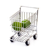 Lime in shopping cart. Isolated lime in shopping cart Stock Image