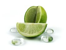 Lime slice. With glass stones isolated on white Royalty Free Stock Images