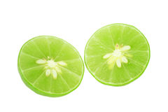 Lime slice, Clipping path Royalty Free Stock Photography