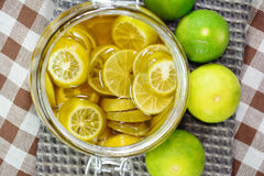 Lime slice in honey, lime. Stock Images