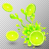 Lime slice with juice splash on transparent Stock Images