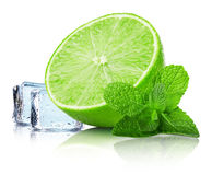 Lime slice with mint leaves and ice cubes isolated on the white Royalty Free Stock Photography