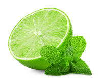 Lime slice with mint leaves isolated on the white background Stock Photography