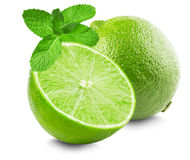 Lime with slice and mint leaves isolated on white background Royalty Free Stock Photos