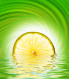 Lime slice in rendered water. Picture of a Lime slice in rendered water Stock Images