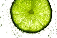 Lime slice in water. Bubbles Stock Image