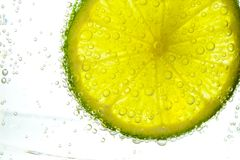 Lime slice in water Royalty Free Stock Images