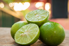 Lime slice on wood Royalty Free Stock Photography