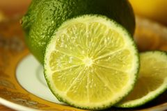 Lime sliced  on a plate Stock Image