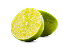 Lime sliced in two, isolated on white background Stock Photo