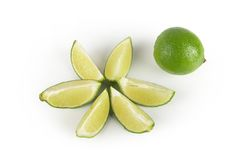 Lime with slices. Lime with additional slices placed as star Stock Image