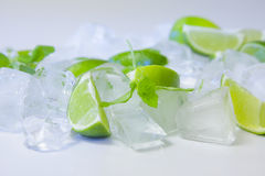 Lime slices with ice cubes and mint Royalty Free Stock Photo