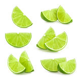 Lime slices isolated. set royalty free stock photo