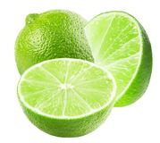 Lime with slices isolated on a white background stock photography