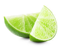 Lime slices isolated on white background royalty free stock photo