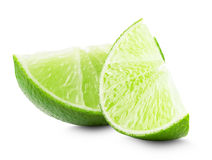 Lime slices isolated on white background stock photos