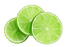 Lime slices isolated on white background royalty free stock images