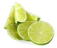 Lime slices isolated on the white background Stock Images
